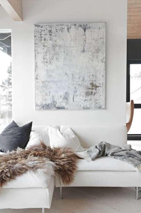31. Modelos de quadros decorativos para sala com decoração clean e moderna
