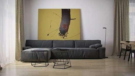 36. Quadros para sala grande com decoração minimalista
