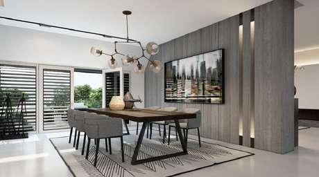 44. Decoração moderna e sofisticada com quadros grandes para sala de jantar