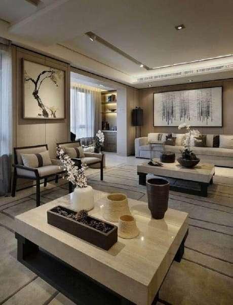 51. Quadros para sala grande com decoração em tons de bege e branco