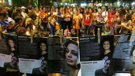 Ato pela vereadora Marielle Franco e pelo motorista Anderson Gomes no Rio de Janeiro
