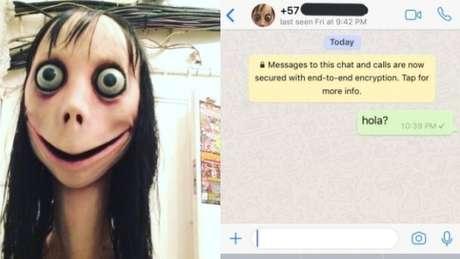 A Momo interage com quem escreve para ela através do WhatsApp, às vezes, de um número mexicano