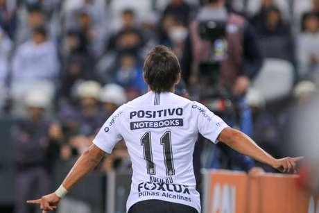 Romero comemora gol marcado pelo Corinthians