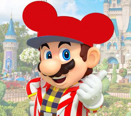 Mario tentando salvar a princesa Minnie no castelo do Magic Kingdom? É, pensamos nisso também...