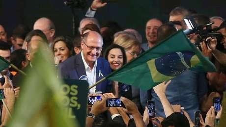 Geraldo Alckmin (PSDB) aproveitou seu discurso para atacar tanto Bolsonaro (PSL) quanto o PT