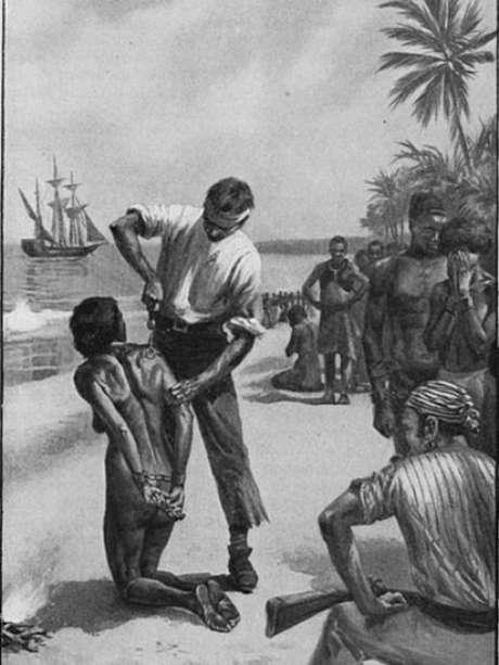 Europeus marcam uma mulher africana na costa da África, antes de ser trasportada por navios negreiros