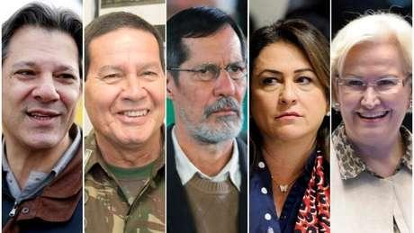 Da esq, os vices dos cinco candidatos que aparecem mais bem colocados nas pesquisas: Fernando Haddad, General Mourão, Eduardo Jorge, Kátia Abreu e Ana Amélia