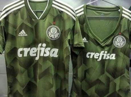 Imagens da versão masculina e feminina da nova camisa do Palmeiras (Foto: Reprodução)