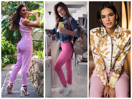 Famosas apostam em calça rosa (Fotos: @julianapaes/@paulafernandes/@brumarquezine/Instagram/Reprodução)