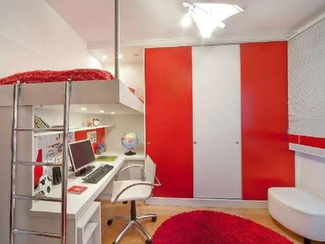 40. Inspiração de decoração para quarto de solteiro todo vermelho e branco – Foto: Aclaene de Mello Arquitetura