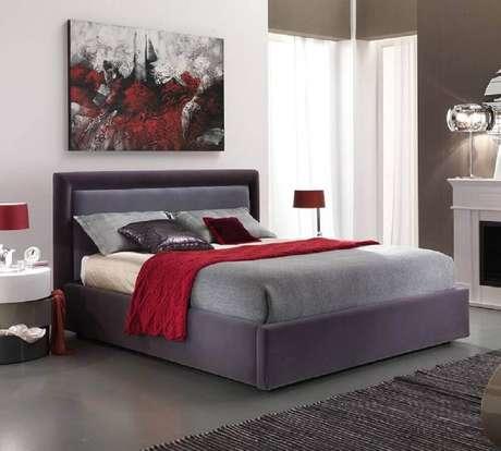 64. Decoração para quarto vermelho e cinza – Foto: Pinterest