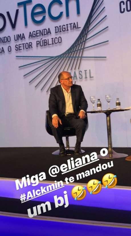 Angélica se divertiu com a gafe cometida por Geraldo Alckmin e mandou recado para Eliana