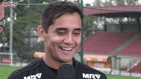 Everton Felipe falou pela primeira vez como jogador do São Paulo - FOTO: Reprodução/SPFC TV