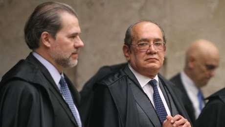 Da direita para a esquerda: Dias Toffoli, Gilmar Mendes e Alexandre de Moraes. Os três votaram pelo aumento