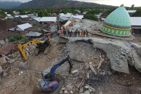 Vista aérea da região castigada por terremotos na Ilha de Lombok, na Indonésia