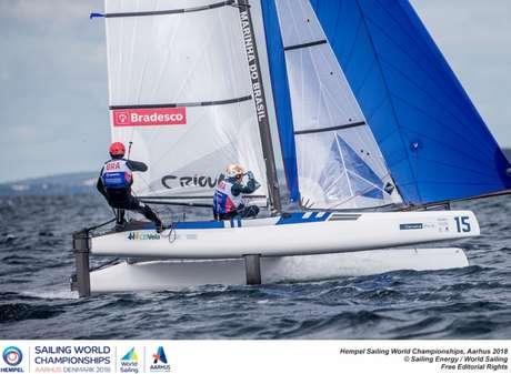 Dupla brasileira garantiu vaga ao país na classe Nacra 17 em Tóquio 2020 (Foto: Jesus Renedo/ Sailing Energy)