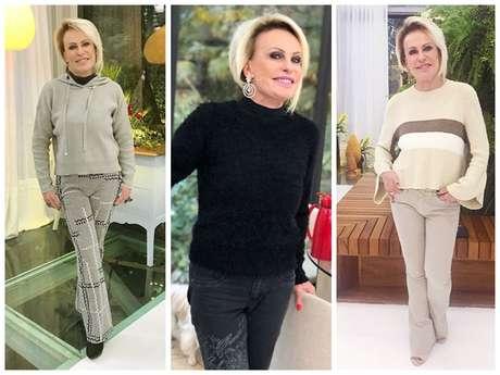 Looks de moletom e tricô da Ana Maria Braga (Fotos: anamariabraga.globo.com/Reprodução)