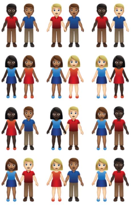 Emojis de casal poderão ter variação de raça em 2019