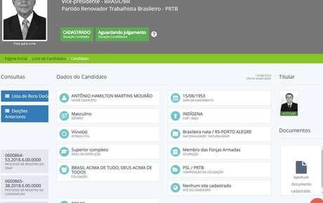 O registro da candidatura dogeneral da reserva Hamilton Mourão.