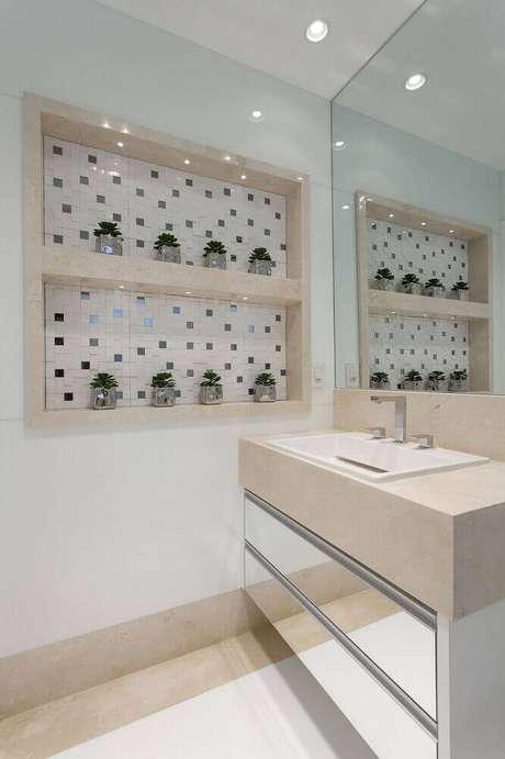 40. Modelos de nichos para banheiro com iluminação