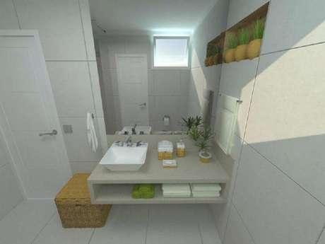 14. Decoração com diferentes modelos de nicho para banheiro