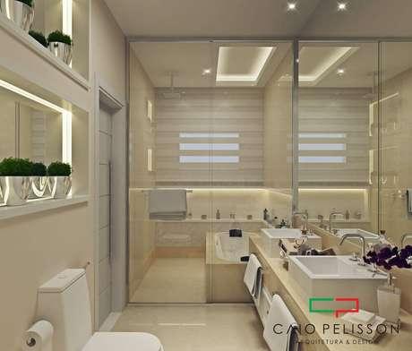 11. Alguns modelos de nicho para banheiro veem com iluminação de LED.