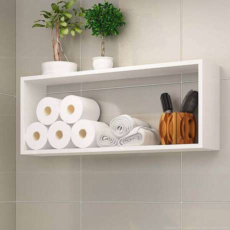 46- Nicho para banheiro são ideais para guardar acessórios e objetos decorativos. Foto: LojasKD