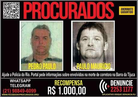 O Portal dos Procurados divulgou cartaz oferecendo recompensa de R$ 1 mil por informações que permitam a prisão deles