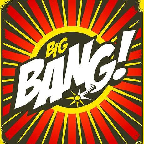 Ilustração das palavras Big Bang em estilo gibi