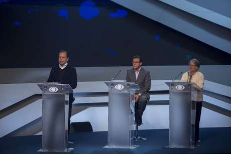 João Doria (PSDB), Luiz Marinho (PT) e Lisete Arelaro (PSOL) durante debate da Band, o primeiro entre os candidatos a governador de São Paulo nas eleições 2018