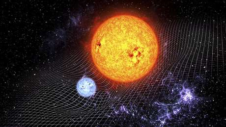 Segundo Einstein, os corpos têm um efeito de curvatura na estrutura do espaço-tempo ao seu redor
