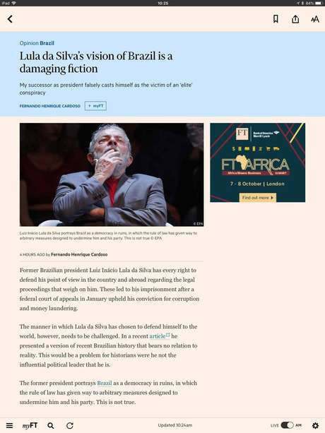 No artigo, ex-presidente FHC criticoua maneira como Lula tem se defendido
