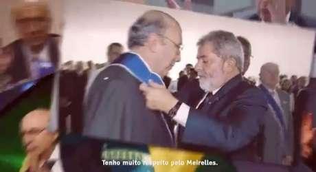 """O petistaaparece exaltando a passagem de Meirelles no Banco Central em seu governo. """"Eu precisava de alguém competente no BC"""", diz Lula."""