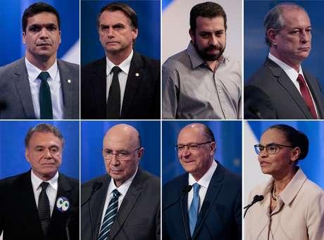 Candidatos à presidência que participaram dos dois primeiros debates, sem a presença do PT: Cabo Daciolo (Patriotas), Jair Bolsonaro (PSL), Guilherme Boulos (PSOL), Ciro Gomes (PDT), Alvaro Dias (Podemos), Henrique Meirelles (MDB), Geraldo Alckmin (PSDB) e Marina Silva (REDE)