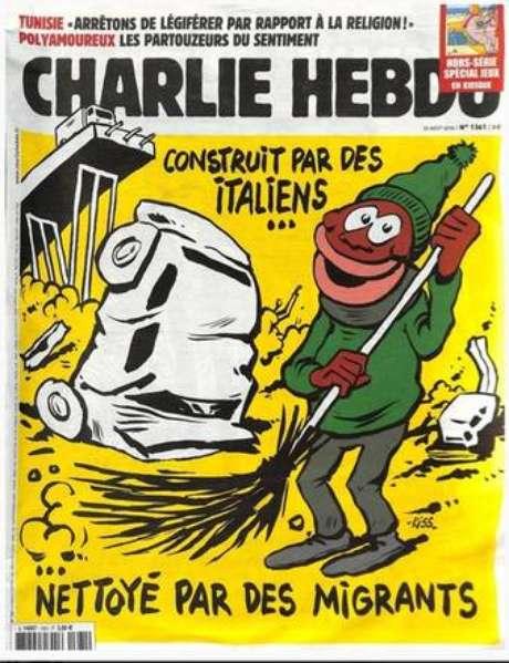 """Capa do """"Charlie Hebdo"""" sobre a tragédia de Gênova"""