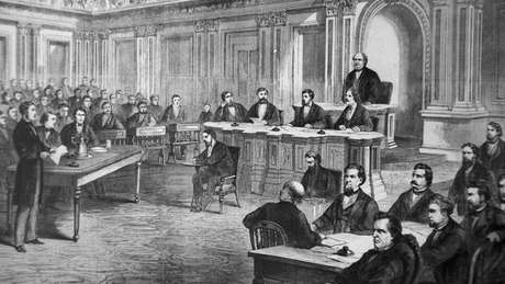 Gravura mostra votação do impeachment do presidente Andrew Johnson no Senado em 1868