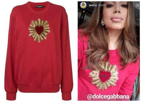 Anitta e a blusa Dolce & Gabbana (Fotos: Reprodução/Instagram/Farfetch)