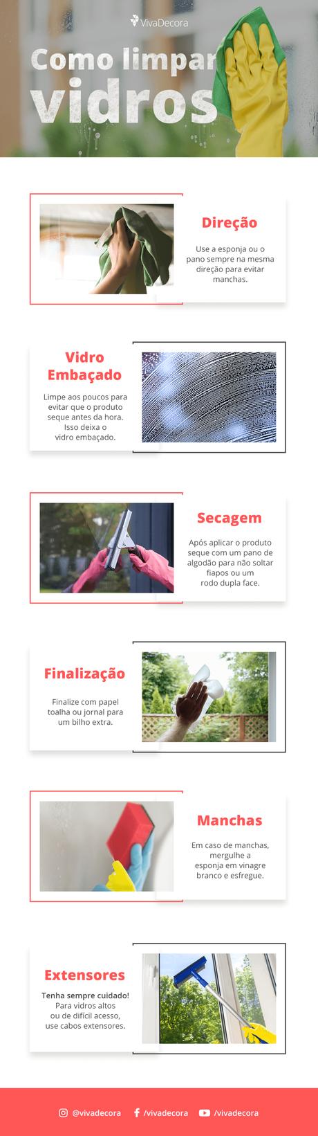 Infográfico – Como limpar vidros