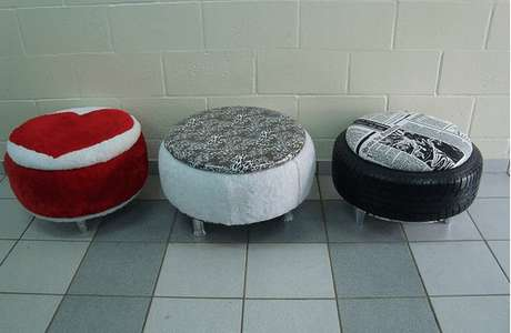 29. Puffs de pneus com estampas diferentes. Foto de Pinterest