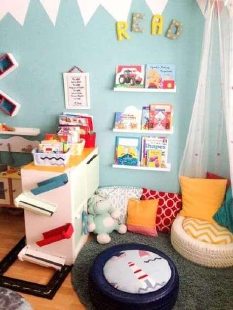 14. Os puffs de pneus podem ser usados em quartos infantis