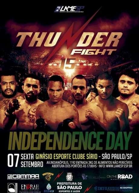 Thunder Fight 15 será realizado no dia 7 de setembro, no Esporte Clube Sírio, em São Paulo (Foto: Divulgação)
