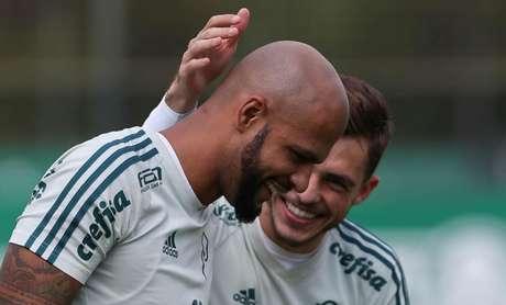 Felipe Melo e Hyoran: ambos treinaram normalmente na Academia de Futebol (Foto: Cesar Greco/Ag Palmeiras)