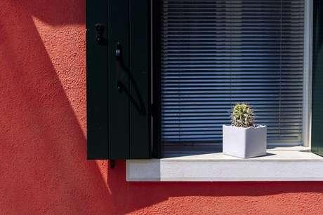 48- O vaso quadrado com cactos no peitoril da janela decora a janela. Fonte: Pinterest