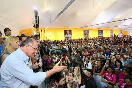 Alckmin em ato da campanha em São Bernardo do Campo, neste domingo, 2