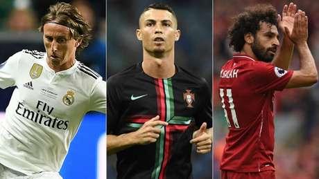 CR7 ganhou a Champions, Modric foi eleito o melhor da Copa e Salah fez campanha história pelo Liverpool (Foto: AFP)