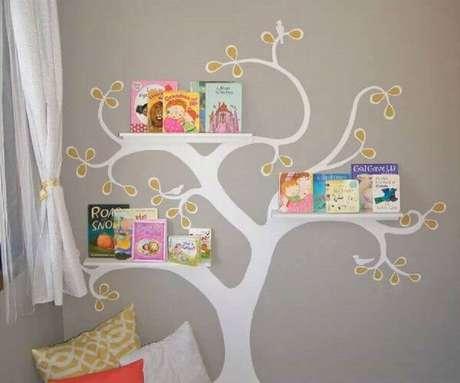 10. O cantinho da leitura para criança precisa ter uma decoração divertida e que incentive o gosto pela leitura nas crianças – Foto: Pinterest