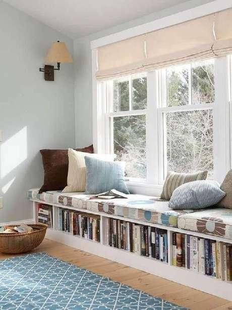 1. Decoração clean para cantinho da leitura planejado – Foto: Pinterest