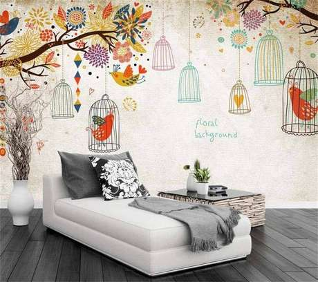 36. Decoração para cantinho de leitura com adesivo de parede de gaiolas coloridas – Foto: AliExpress