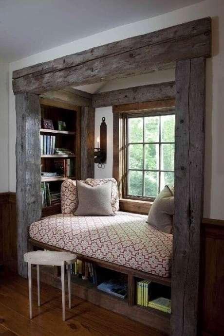 59. Cantinho de leitura com decoração rústica – Foto: Pinterest