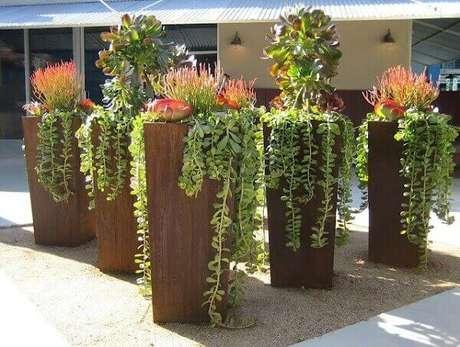 43 – Jardim externo com vasos altos.